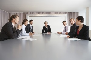 Multiethnic business people having discussion in meeting room